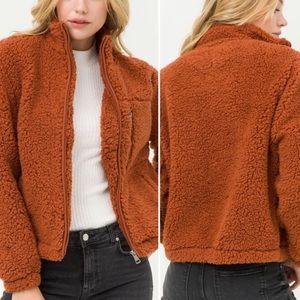 Jackets & Coats - Zip up TEDDY JACKET - BRICK